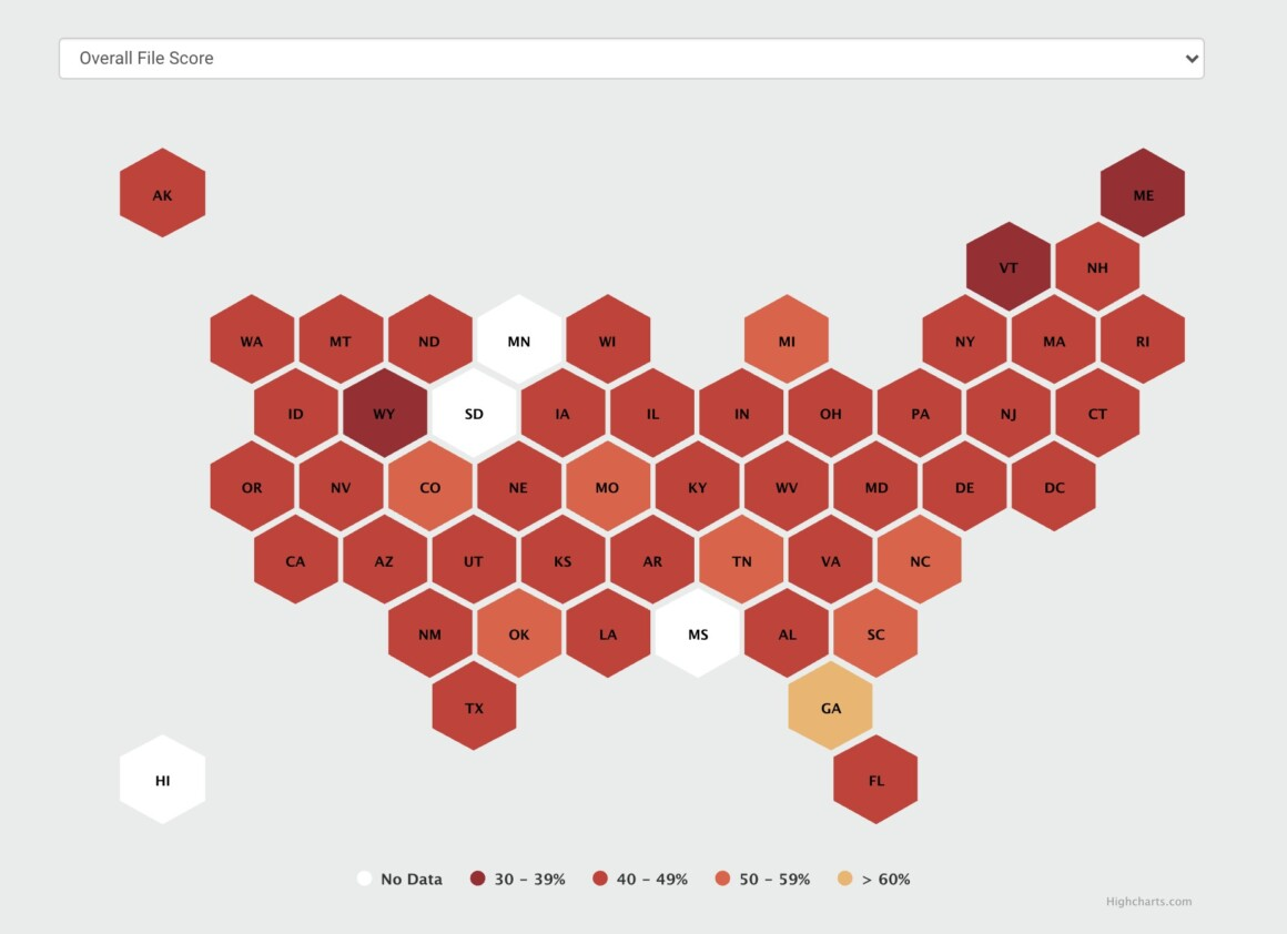 Engage with the honeycomb tile map visualization