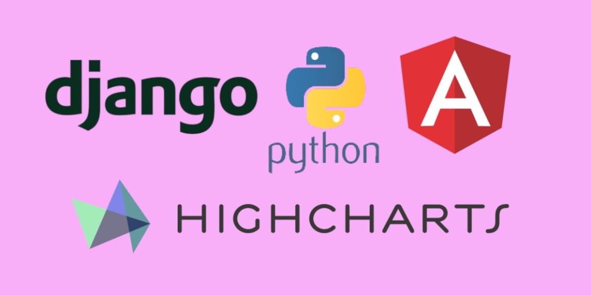 Picture with the following logos: django, python, angular, and highcharts